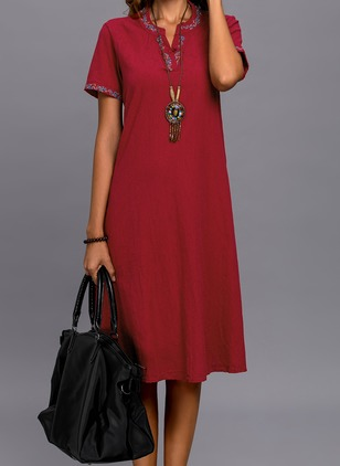Chinese Casual Solid Round Neckline Midi Shift Dress (1244371)