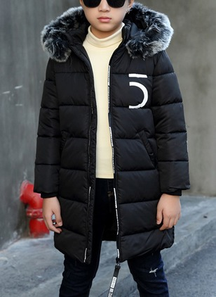 Boys' Casual Alphabet Hooded Coats