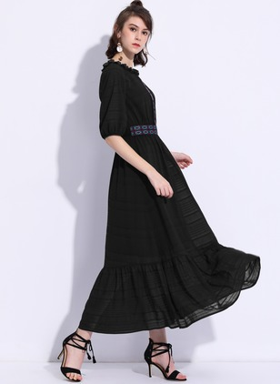 Polyester Solid Half Sleeve Maxi Casual Dresses