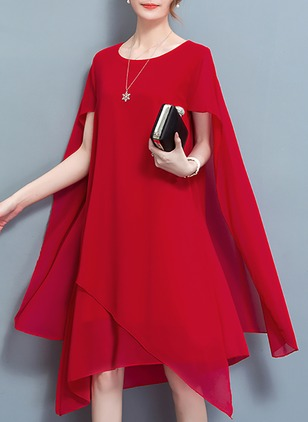 Plus Size Elegant Solid Tunic Round Neckline Shift Dress (1120685)