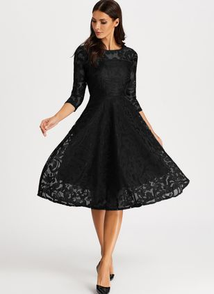 Elegant Solid Peasant Round Neckline A-line Dress (1292086)