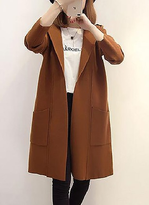 Polyester Long Sleeve Hooded Pockets Peacoats Coats