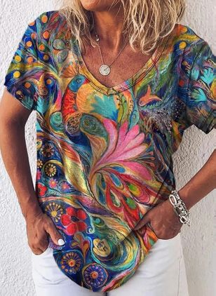 Floral V-Neckline Short Sleeve Casual T-shirts (147066481)