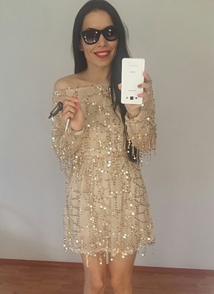 Solid Sequins Long Sleeve Above Knee Shift Dress