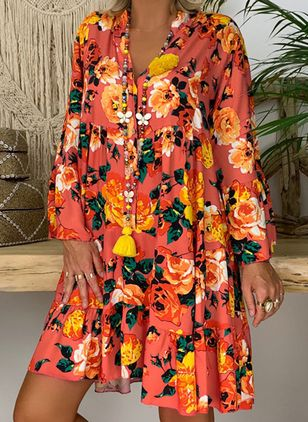 Tunic Floral V-Neckline Casual Above Knee Plus Dress (4049209)