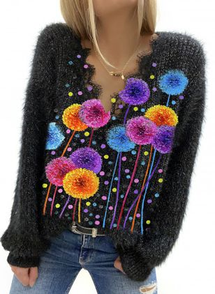 V-Neckline Floral Casual Loose Regular Lace Sweaters (146787337)