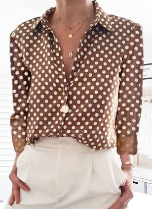 Polka Dot Casual Round Neckline Long Sleeve Blouses (4355840)