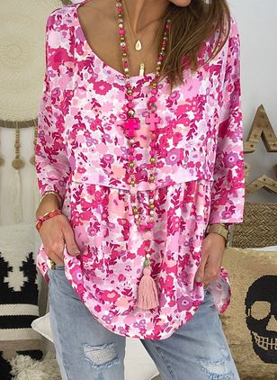 Floral Boat Neckline Casual Shift Blouses 3/4 Sleeves Plus Blouses (4126798)