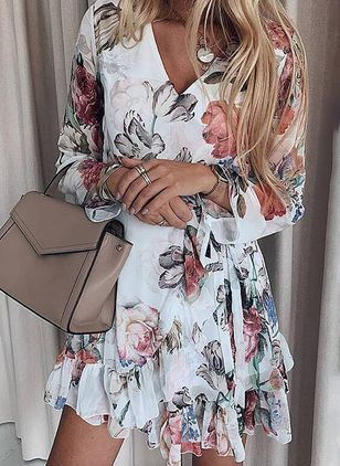 Casual Floral Skater V-Neckline X-line Dress (100037747)