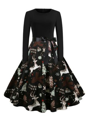 Christmas Animal Round Neckline Midi X-line Dress (146723209)