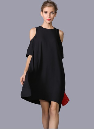 Solid Half Sleeve A-line Dress