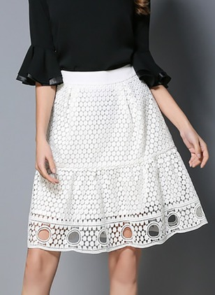 Polyester Solid Above Knee Casual Hollow Out Skirts