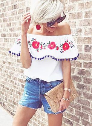 Floral Sexy Off the Shoulder Short Sleeve Blouses