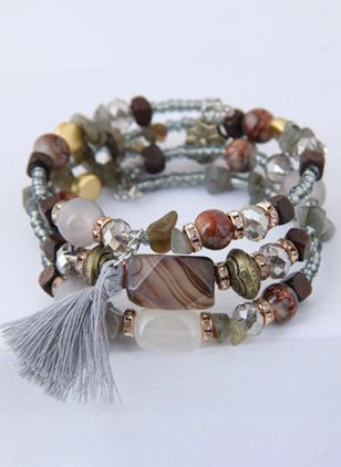 Casual Tassel Ball No Stone Beaded Bracelets (147145162)