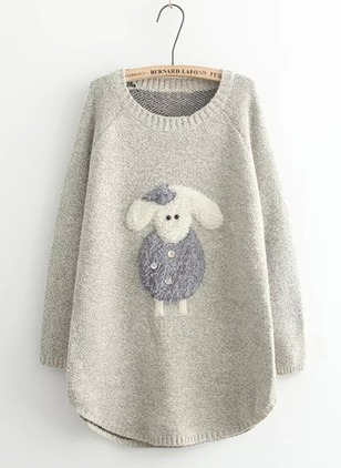 Cotton Round Neckline Animal Loose Others Sweaters