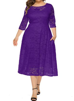 Plus Size Casual Solid Lace Round Neckline X-line Dress (1347238)