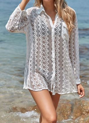 Lace Solid Mesh Cover-Ups Swimwear (107805694)