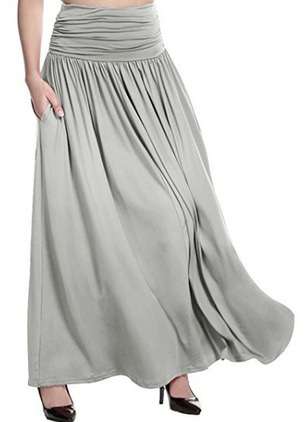 Polyester Solid Maxi Pockets Skirts