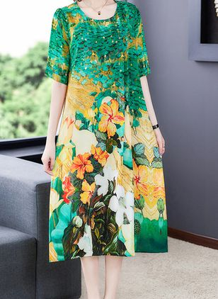 Casual Floral Tunic Round Neckline Shift Dress (100546590)