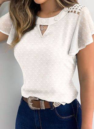 Solid Casual Round Neckline Short Sleeve Blouses (4294206)