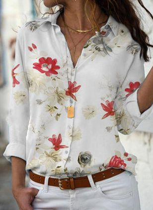 Floral Elegant Collar Long Sleeve Blouses (1525628)