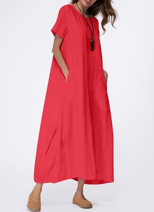Casual Solid Round Neckline Maxi Shift Dress (1042939)