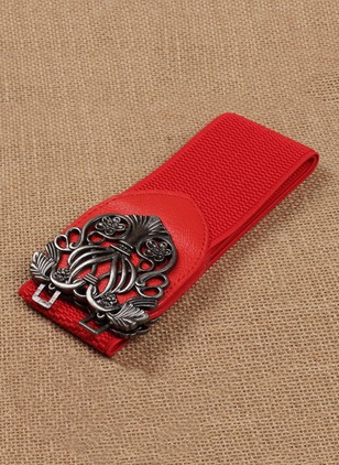 Casual Fabric Metal Color Block Belts