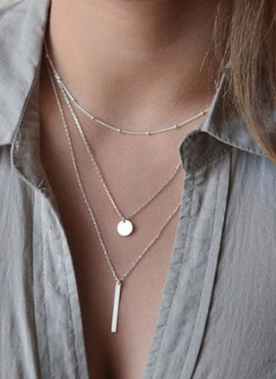 Casual Round No Stone Pendant Necklaces (147929685)