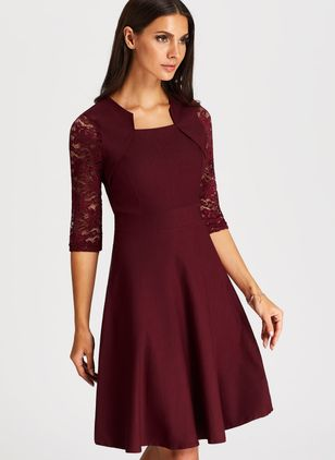 Solid Skater Round Neckline Knee-Length A-line Dress (1163572)