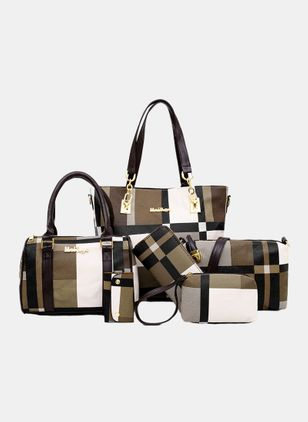 Bag Sets Color Block Fashion Zipper Double Handle Bags (4041066)