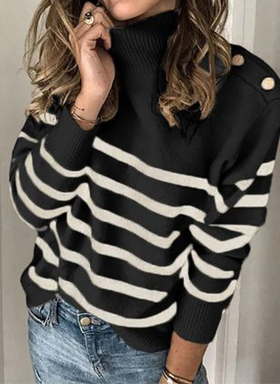 High Neckline Stripe Casual Loose Regular Buttons Sweaters (6211405)
