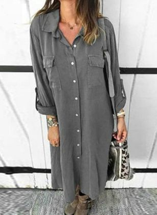 Casual Solid Shirt Collar Shift Dress (108088391)