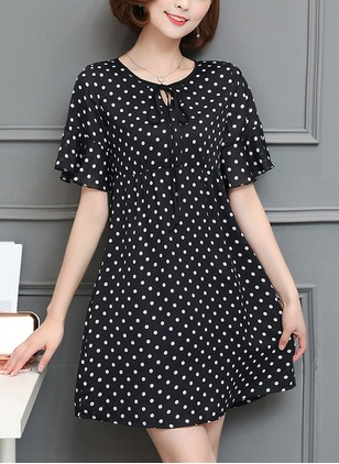 Polka Dot Short Sleeve A-line Dress