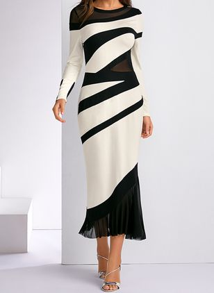 Elegant Color Block Round Neckline Midi X-line Dress (1314721)
