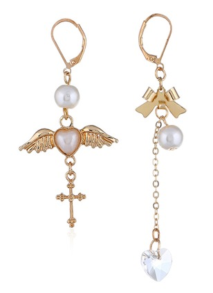 Ball Cross Heart Pearls Dangle Earrings 1 pairs