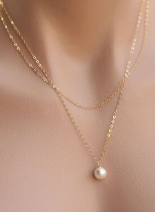 Basic Ball Pearls Pendant Necklaces (4041166)