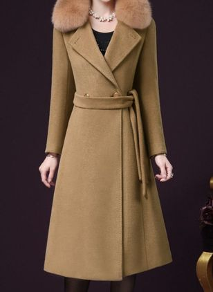 Long Sleeve Lapel Sashes Buttons Coats (107519715)