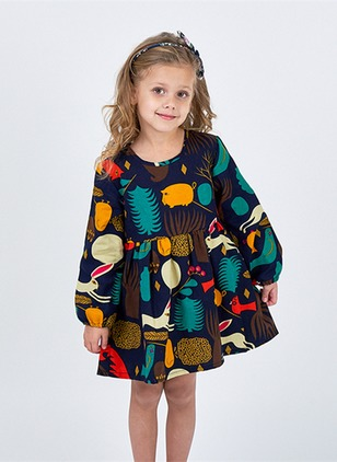 Girls' Floral Round Neckline Long Sleeve Tops