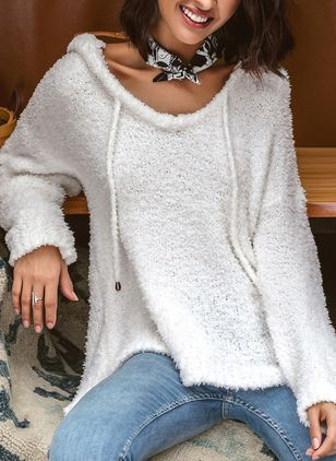 V-Neckline Solid Loose None Shift Sweaters
