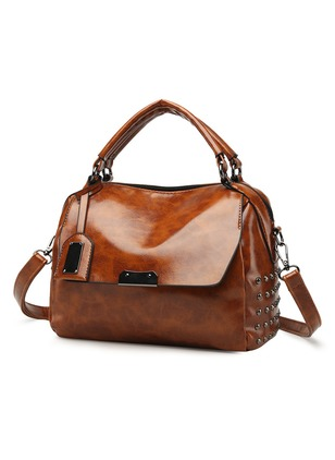 Shoulder Real Leather Zipper Double Handle Bags (1229822)