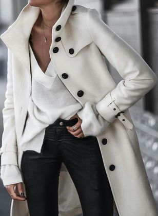 Long Sleeve Stand Collar Buttons Coats