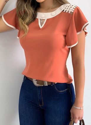 Color Block Casual Round Neckline Short Sleeve Blouses (4265329)