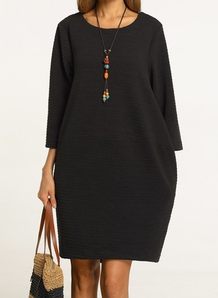 Solid None Tunic Round Neckline Shift Dress (1143771)