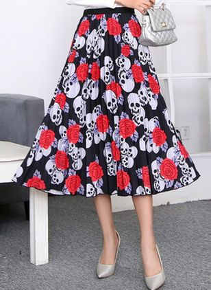Floral Mid-Calf Casual Skirts (4127057)