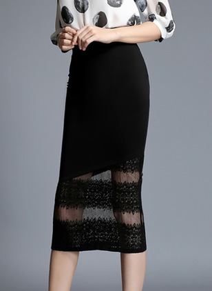 Lace Solid Mid-Calf Elegant Black Skirts