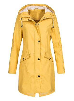 Long Sleeve Hooded Buttons Pockets Trench Coats (102930524)
