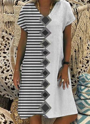 Casual Stripe Tunic V-Neckline A-line Dress (4265247)