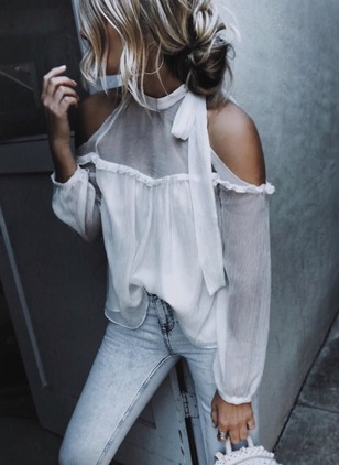 Solid Polyester Halter Neckline Long Sleeve Blouses
