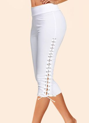 Casual Skinny Mid Waist Polyester Pants (146904612)
