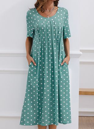 Casual Polka Dot Tunic Round Neckline Shift Dress (100038106)
